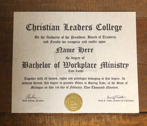 Bachelor of Workplace Ministry Degree