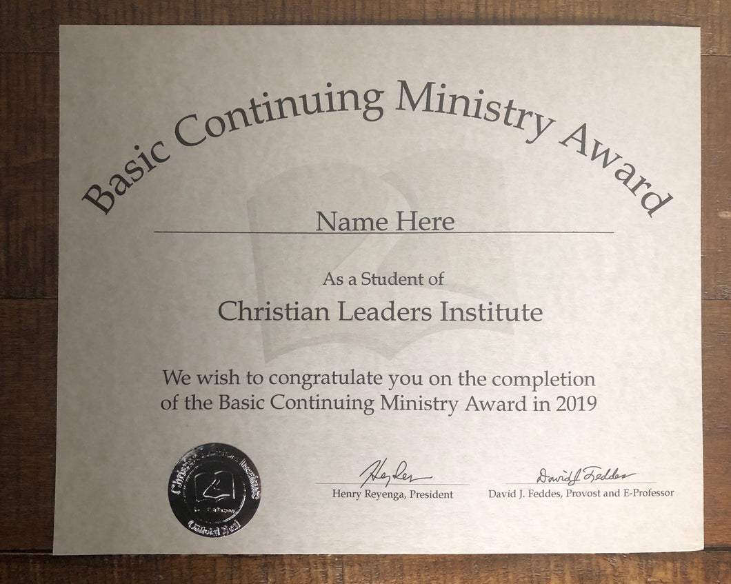 Basic Continuing Ministry Award (Tier 3)