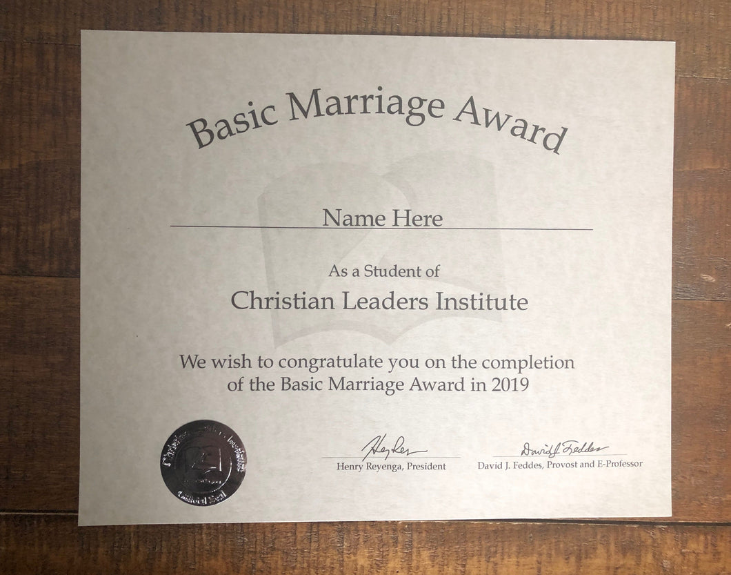 Basic Marriage Award
