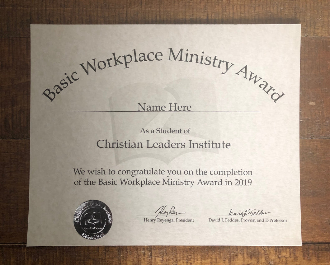 Basic Workplace Ministry Award (Tier 2)