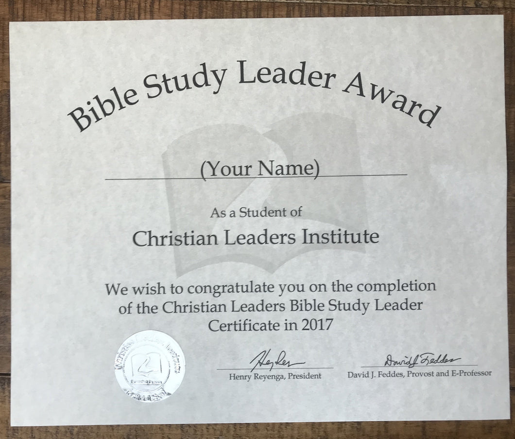 Bible Study Leader Award