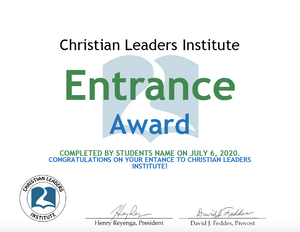 Christian Leaders Institute Entrance Award