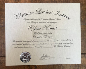 Chaplain Minister Ordination Certificate