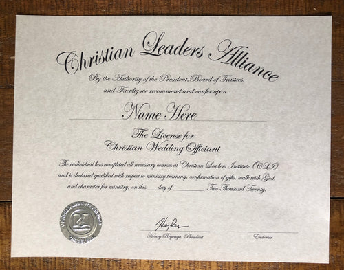 Licensed Christian Wedding Officiant Certificate $62.50