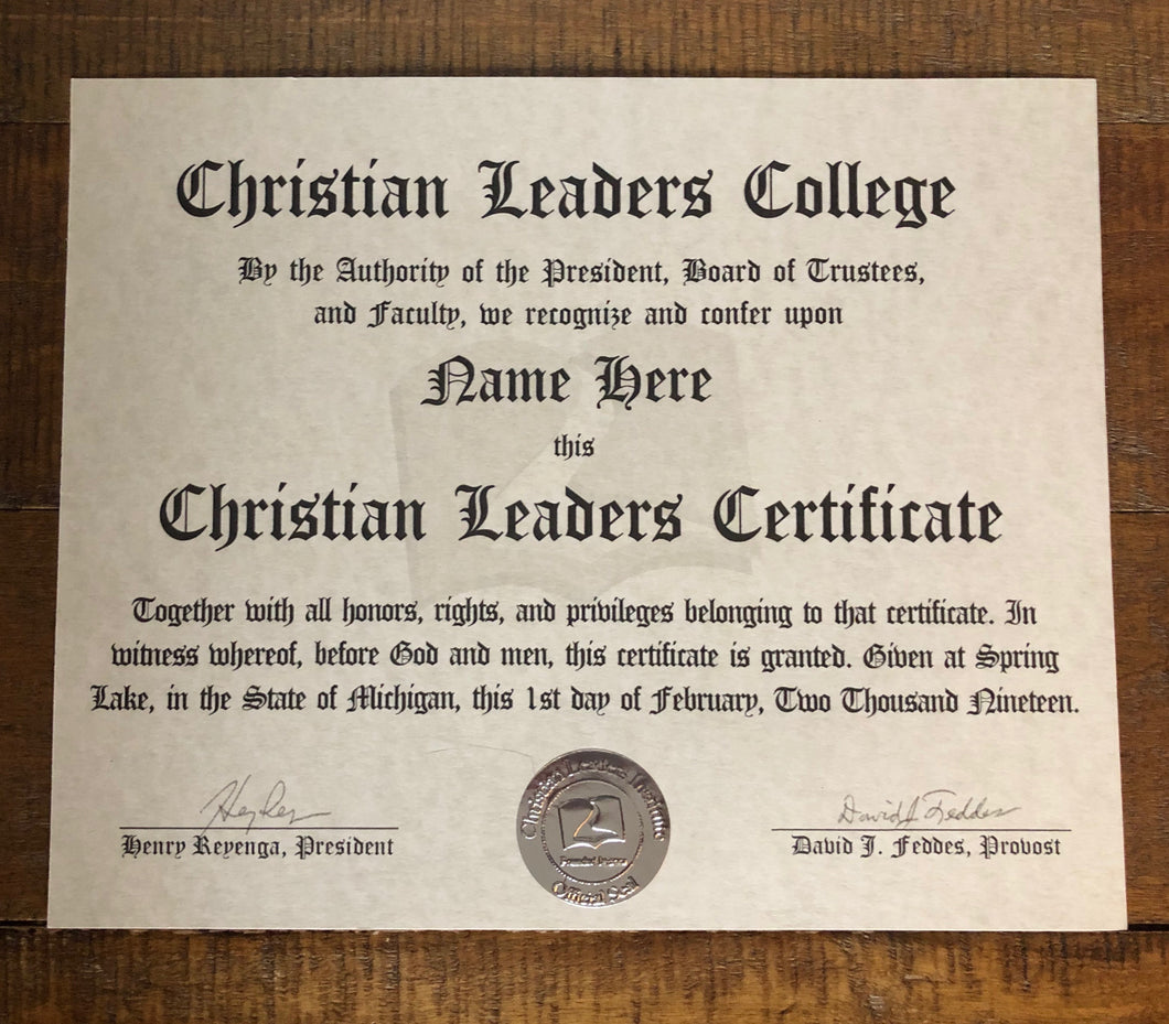 Christian Leaders Certificate