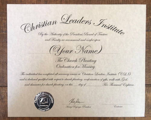 Church Planting Minister Ordination Certificate