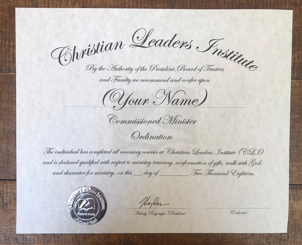 Commissioned Minister Ordination Certificate