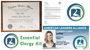 Ordained Life Coach Enterprise Minister Clergy Kit (Essential)