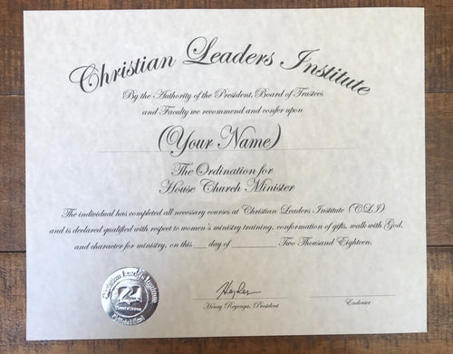 House Church Minister Ordination Certificate