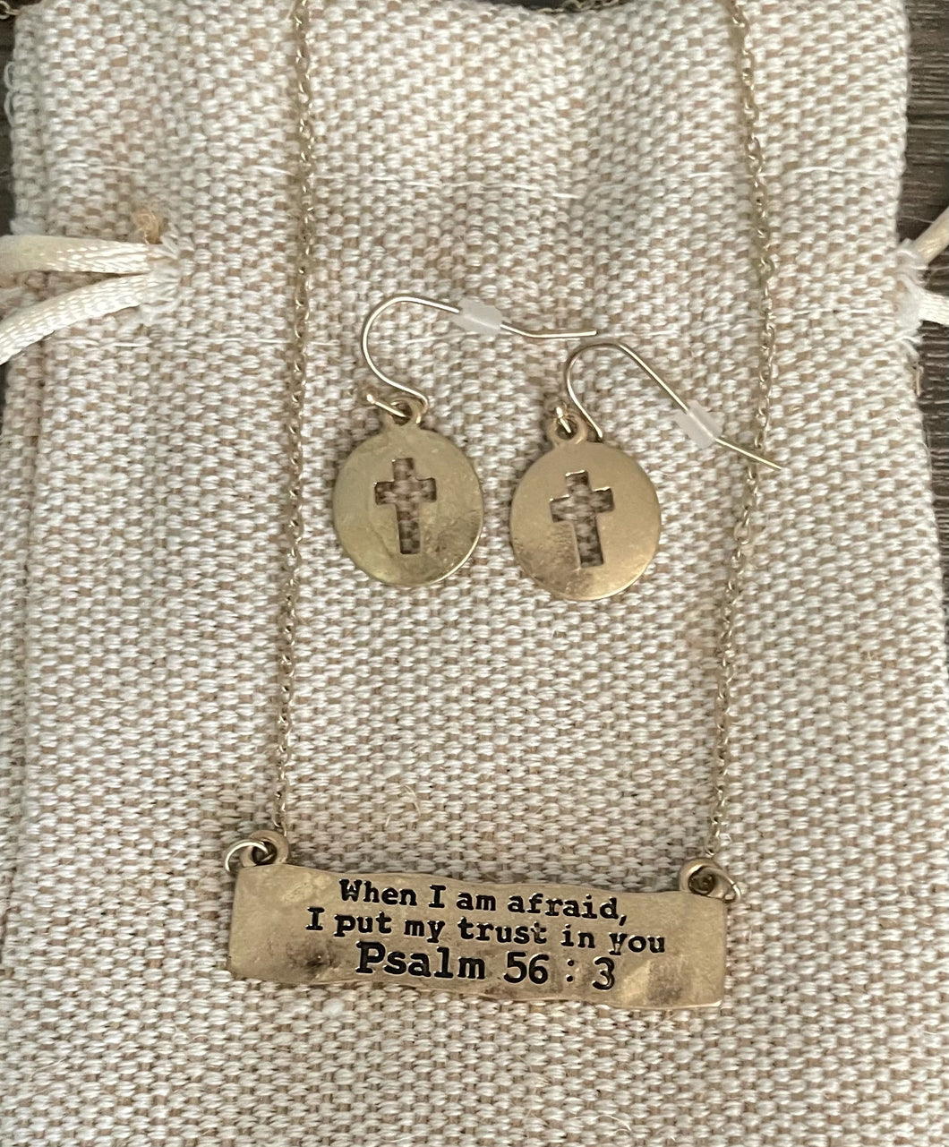 When I am afraid I put my trust in you Necklace and Earrings $18.99