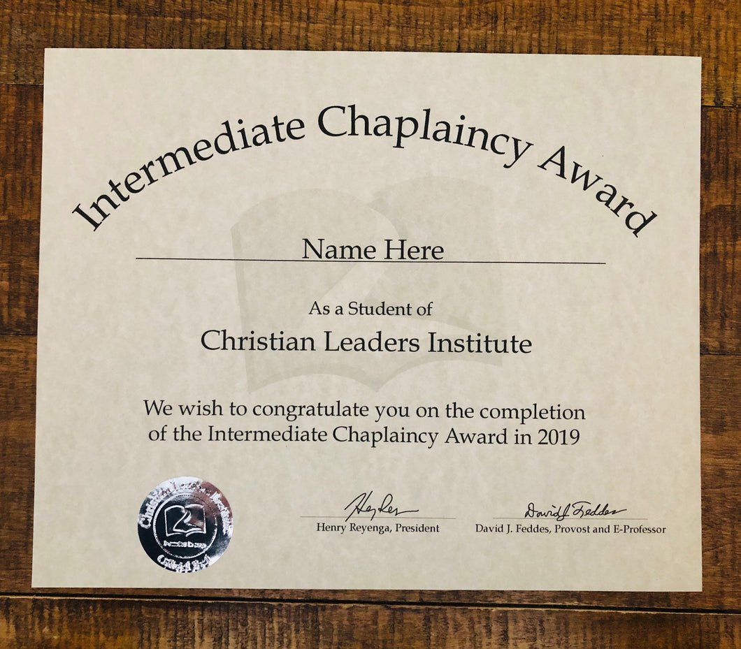 Intermediate Chaplaincy Award (Tier 1)