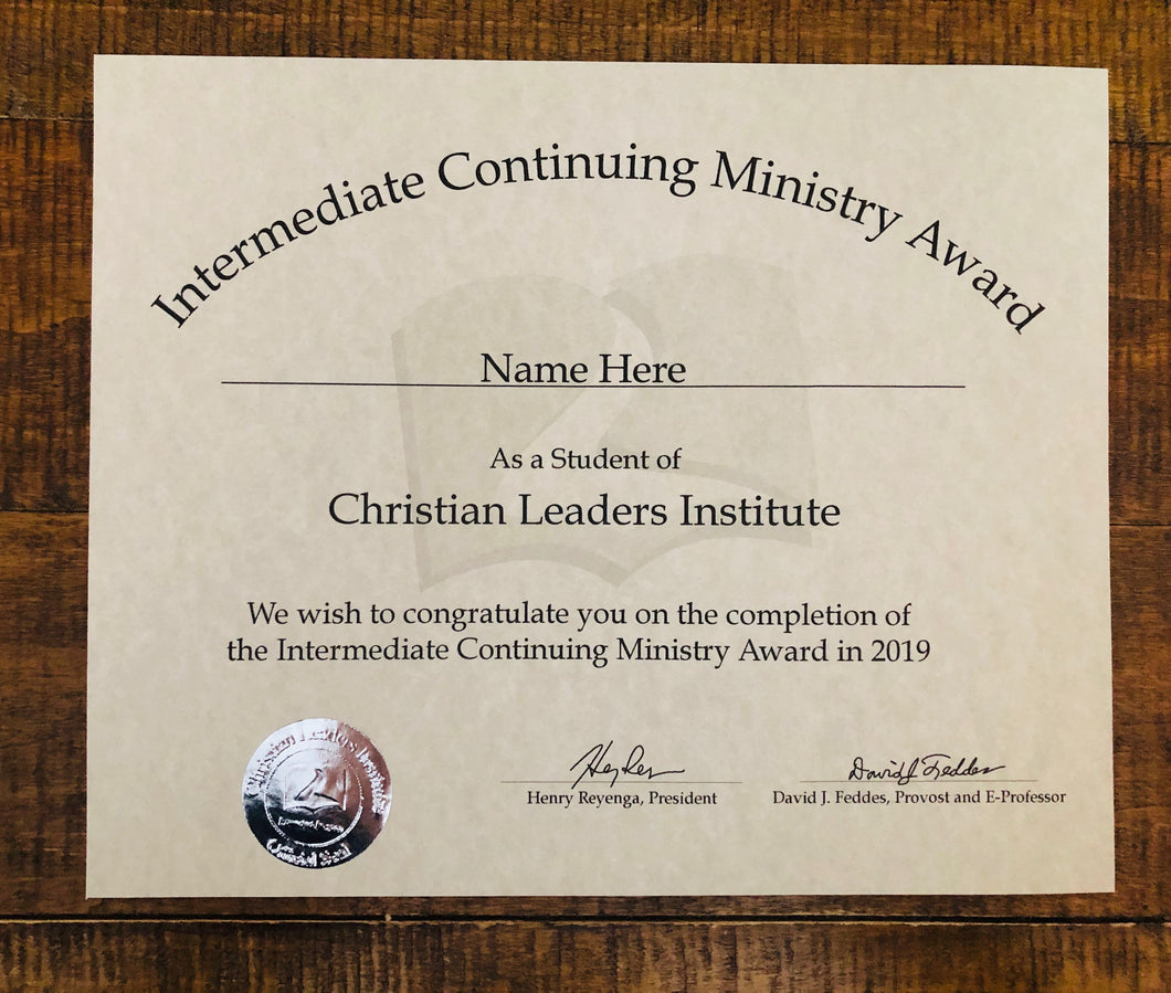 Intermediate Continuing Ministry Award (Tier 1)