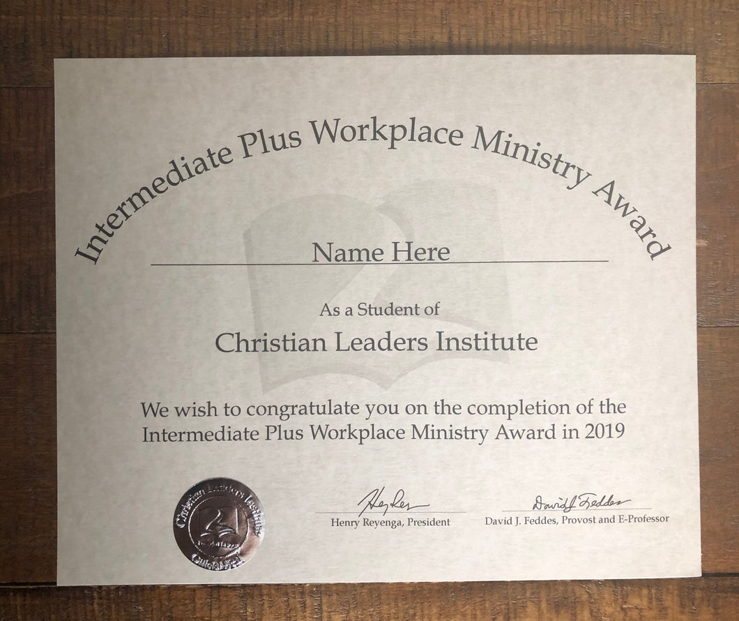 Intermediate Plus Workplace Ministry Award