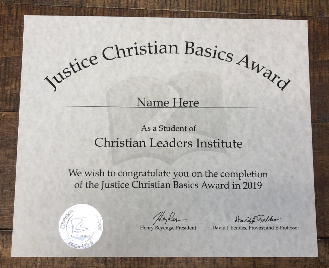 Justice Christian Basics Award (Tier 2)