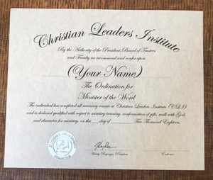 Minister of the Word Ordination Certificate