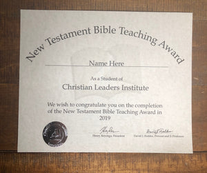 New Testament Bible Teaching Award (Tier 1)