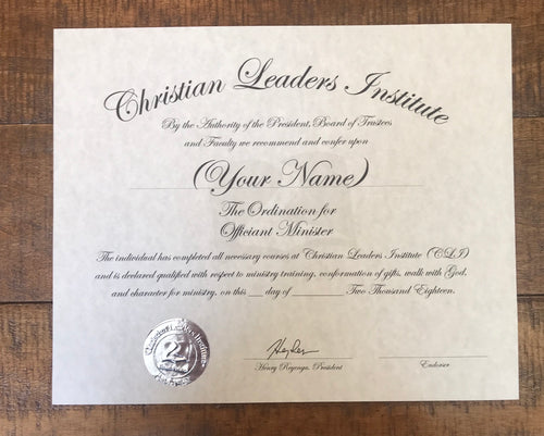 Officiant Minister Ordination Certificate