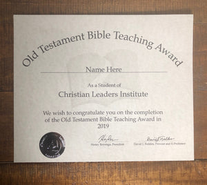 Old Testament Bible Teaching Award (Tier 1)