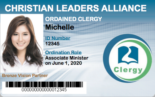 Associate Minister Ordination Student ID