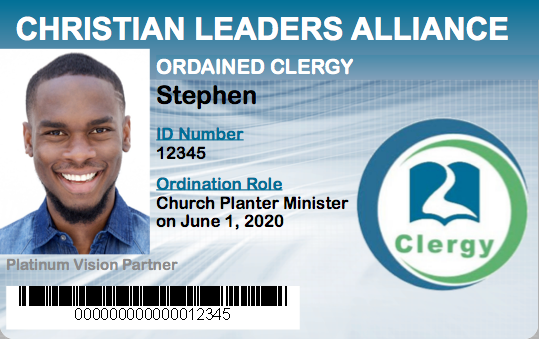 Church Planter Minister Ordination Student ID