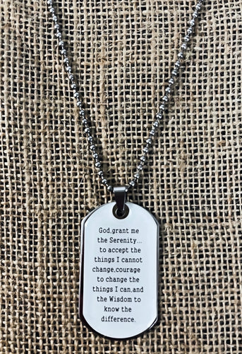 Prayer of Serenity Dog-tag Necklace $12.99