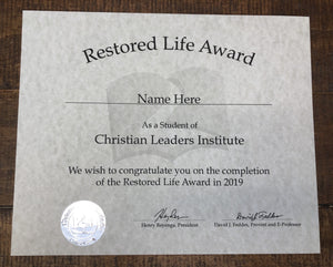 Restored Life Award (Tier 1)