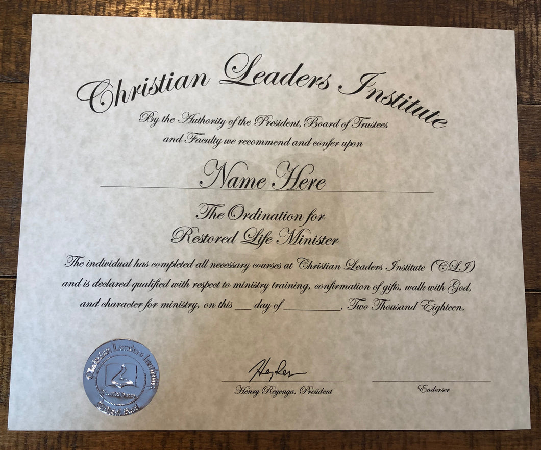 Restored Life Minister Ordination Certificate
