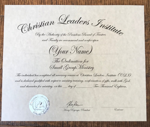 Small Group Minister Ordination Certificate