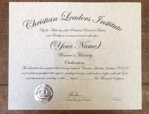 Women's Minister Ordination Certificate