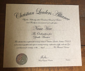 Youth Minister Ordination Certificate