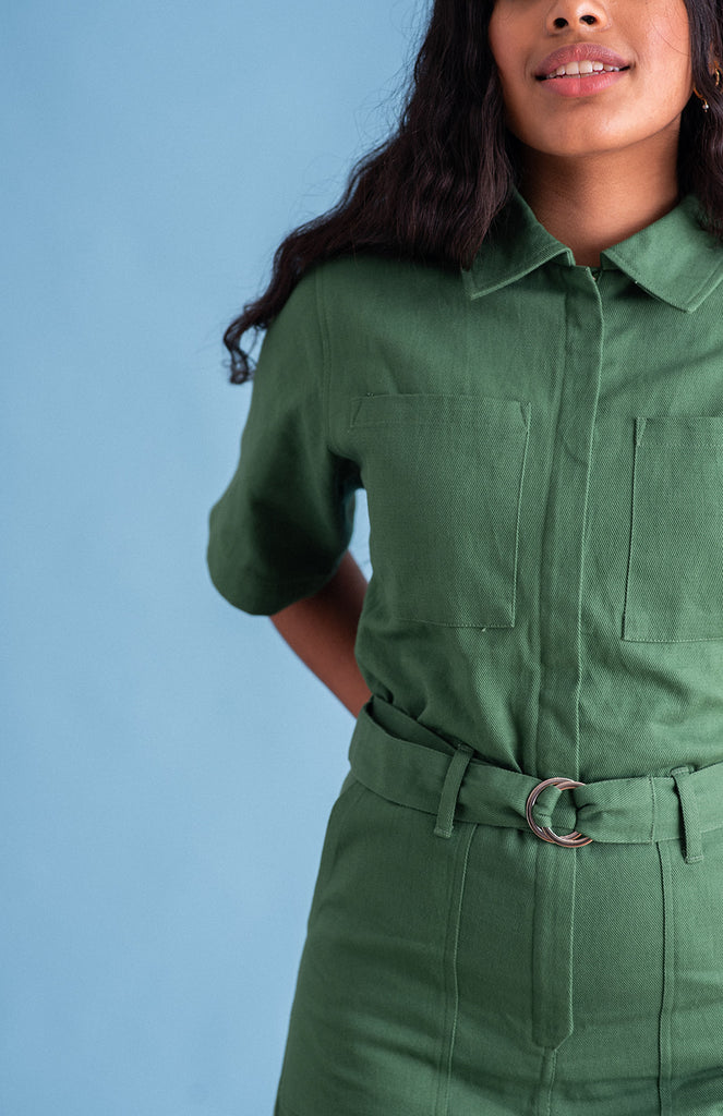 Sustainable workwear style playsuit in green