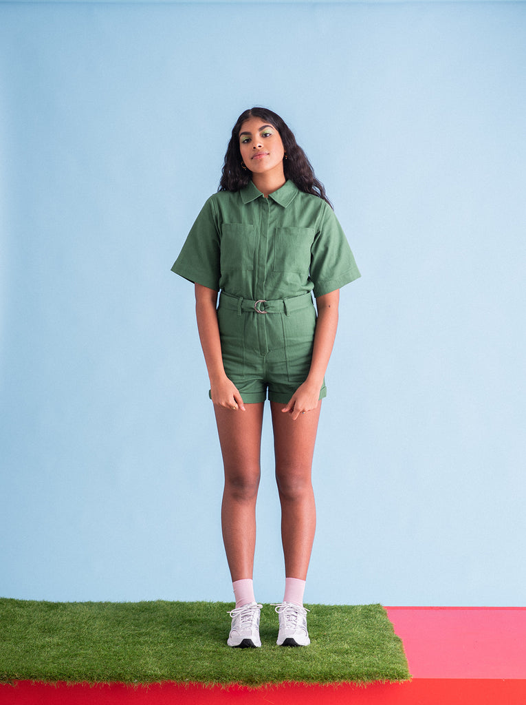 Sustainable utility playsuit in green