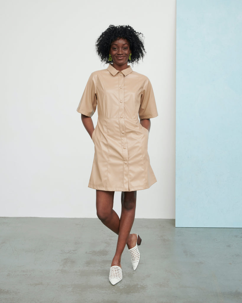 Sustainable nude faux leather dress