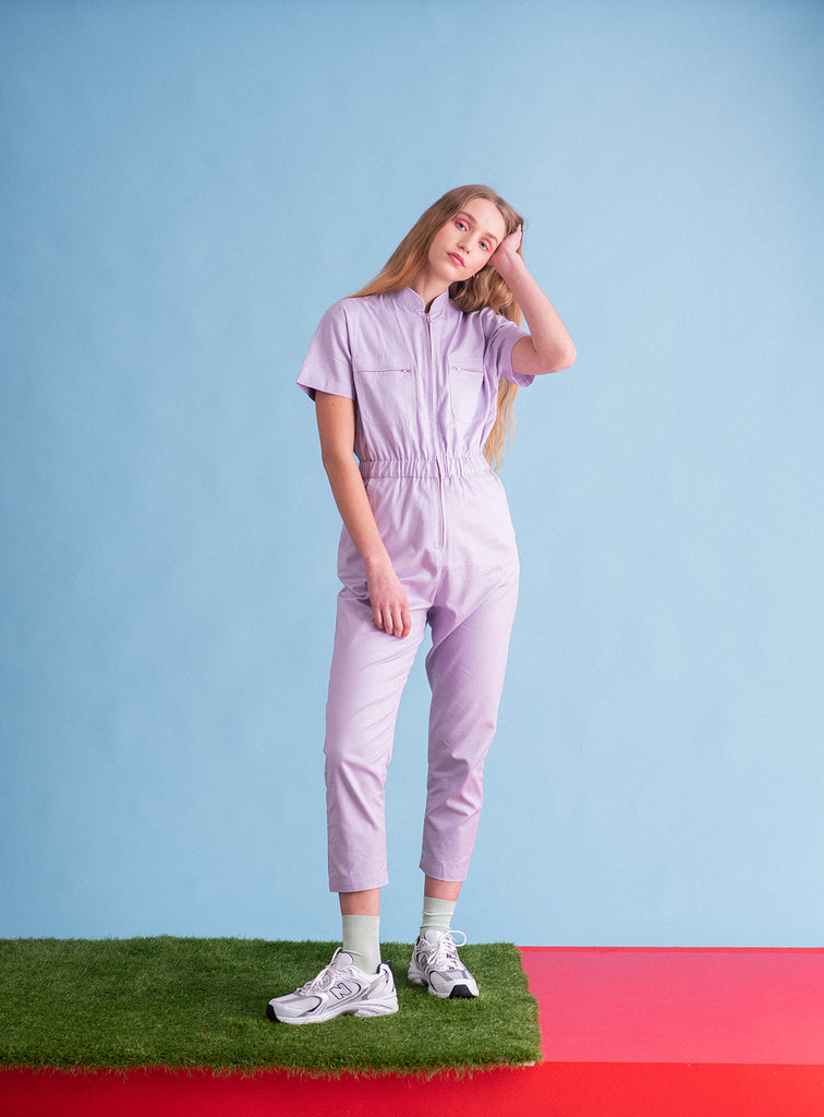 Sustainable lilac womens workwear boiler suit