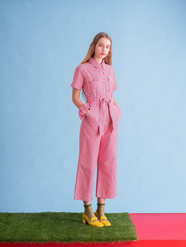 Sustainable Wide Legged Gingham Cotton Jumpsuit