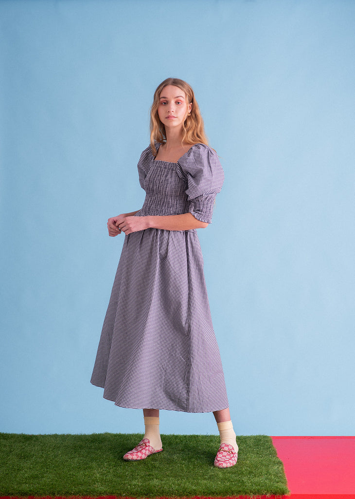 Sustainable gingham sleeper dress