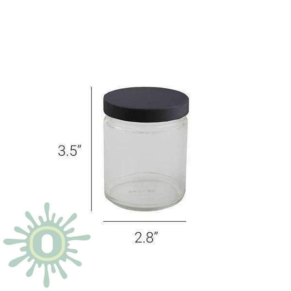 9Oz Glass Jar - Black Cap 12Ct Jars