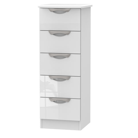 Ealing - White Gloss / White - 5 Draw Locker