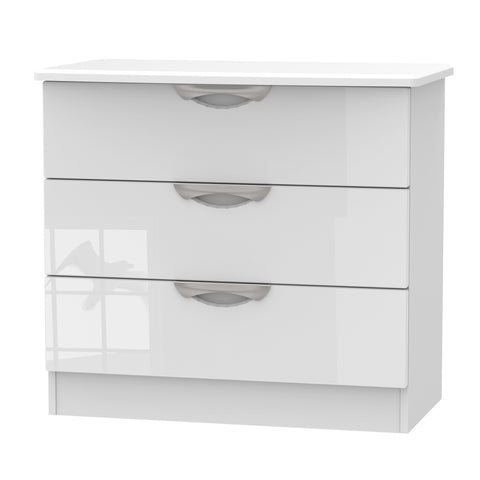 Ealing - White Gloss / White - 3 Draw Chest