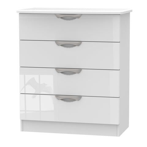 Ealing - White Gloss / White - 4 Draw Chest