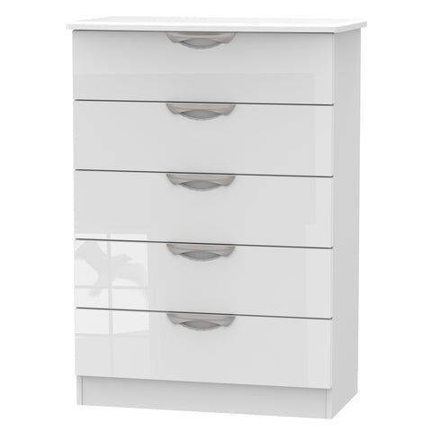 Ealing - White Gloss / White - 5 Draw Chest