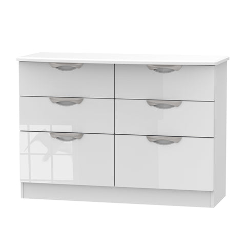 Ealing - White Gloss / White - 6 Draw Midi Chest