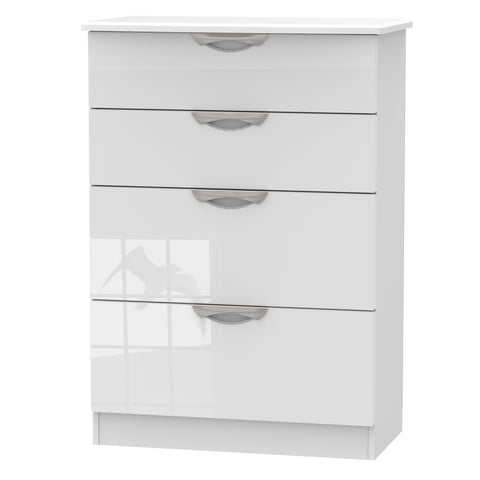 Ealing - White Gloss / White - 4 Draw Midi Chest