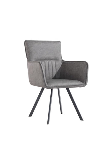 Padded Stripe Carver Dining Chair - Grey
