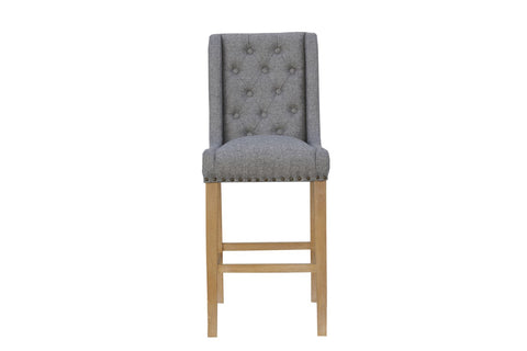 Button Back Scroll Stool - Light Grey