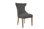 Winged Button Back Chair - Dark Grey