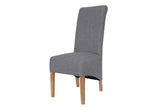 Scroll Back Fabric Chair - Light Grey