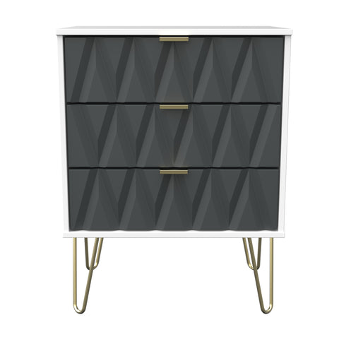 Primrose Hill Graphite/White - 3 Draw Midi Chest