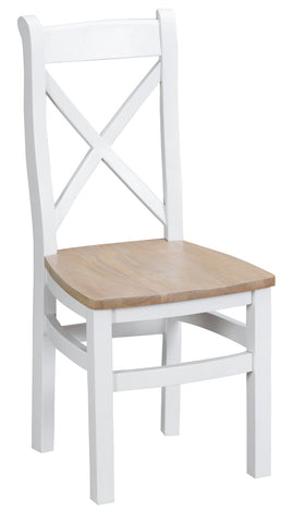 Tuscany White  - Cross Back Chair (Wooden Seat)