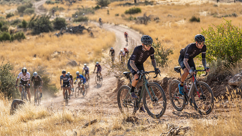 Bicycle riders on a dirt path in Utah